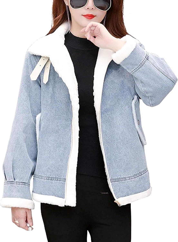 Women's Winter Fur Collar Zip Up Sherpa Lined Moto Denim Jean Jacket