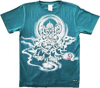 Tシャツ 麻生地 ガネーシャ イラスト前面 緑 ヘンプ 半袖 和柄 仏画 日本画