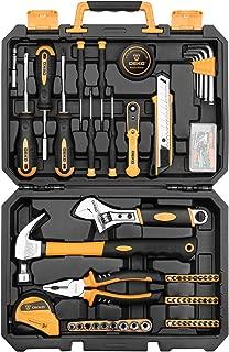 DEKOPRO 100 Piece Home Repair Tool Set,General Household Hand Tool Kit with Plastic Tool Box Storage