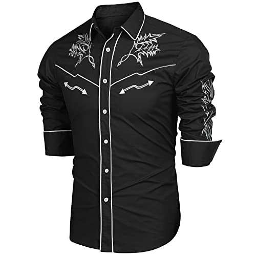 d92d80d1652 Modfine Mens Shirts Long Sleeve Embroidery Slim Fit Fashion Western Casual Cowboy  Shirt