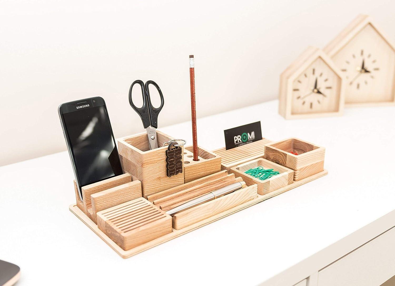 Oak Wood Desk Max 42% OFF Organizer - Pen Wooden Bureau H Award