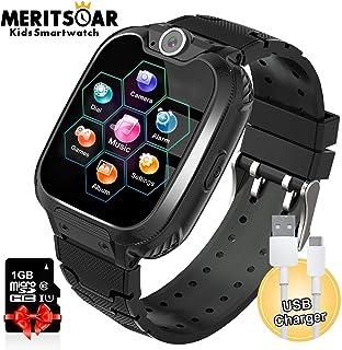 Reloj inteligente para niños, reproductor de MP3, pantalla táctil HD para niños y niñas, reloj de música, reloj inteligente con juegos de llamadas, alarma, linterna para niños, regalo de cumpleaños Negro