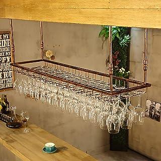 JHGJBJ Soportes para Copas Sostenedor del Vidrio de Vino Sostenedor del cubilete Colgando Estante del Vidrio de Vino Bar Escritorio Bar Club (Color : Brown, Tamaño : 90 * 35cm)