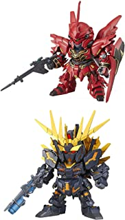 2 Bandai SD EX-Standard Gundam Assembly Models - MSN-065 Sinanju & Unicorn Banshee Norn (Destroy Mode) RX-0 (Japan Import)