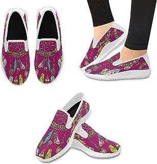 InterestPrint Fashion Sneaker Painted Sunflowers Bee Slip-on Women's Canvas Flat Shoes