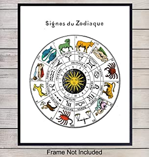 Zodiac Signs Wall Art Photo Poster Print - Vintage Astrology Chart -Home, Room and Apartment Decor - Great Gift for Astrologers and Fortune Tellers - 8x10