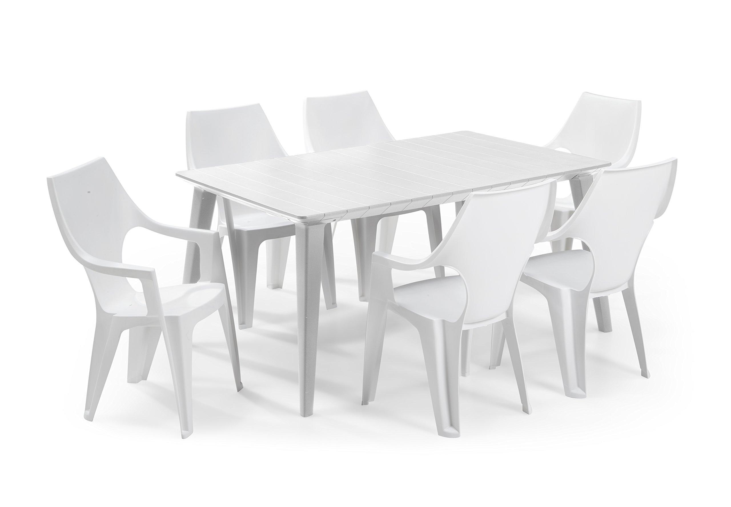 Keter - Set de mobiliario de jardín Lima/Dante (mesa + 6 sillas), color blanco: Amazon.es: Jardín
