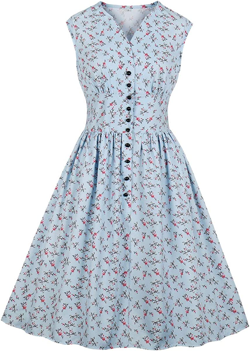 Pin Up Girl Costumes | Pin Up Costumes Wellwits Womens Split Neck Floral Button 1940s Day 1950s Vintage Tea Dress  AT vintagedancer.com