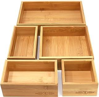 Organizador de cajones de bambú de 5 piezas | cajas de