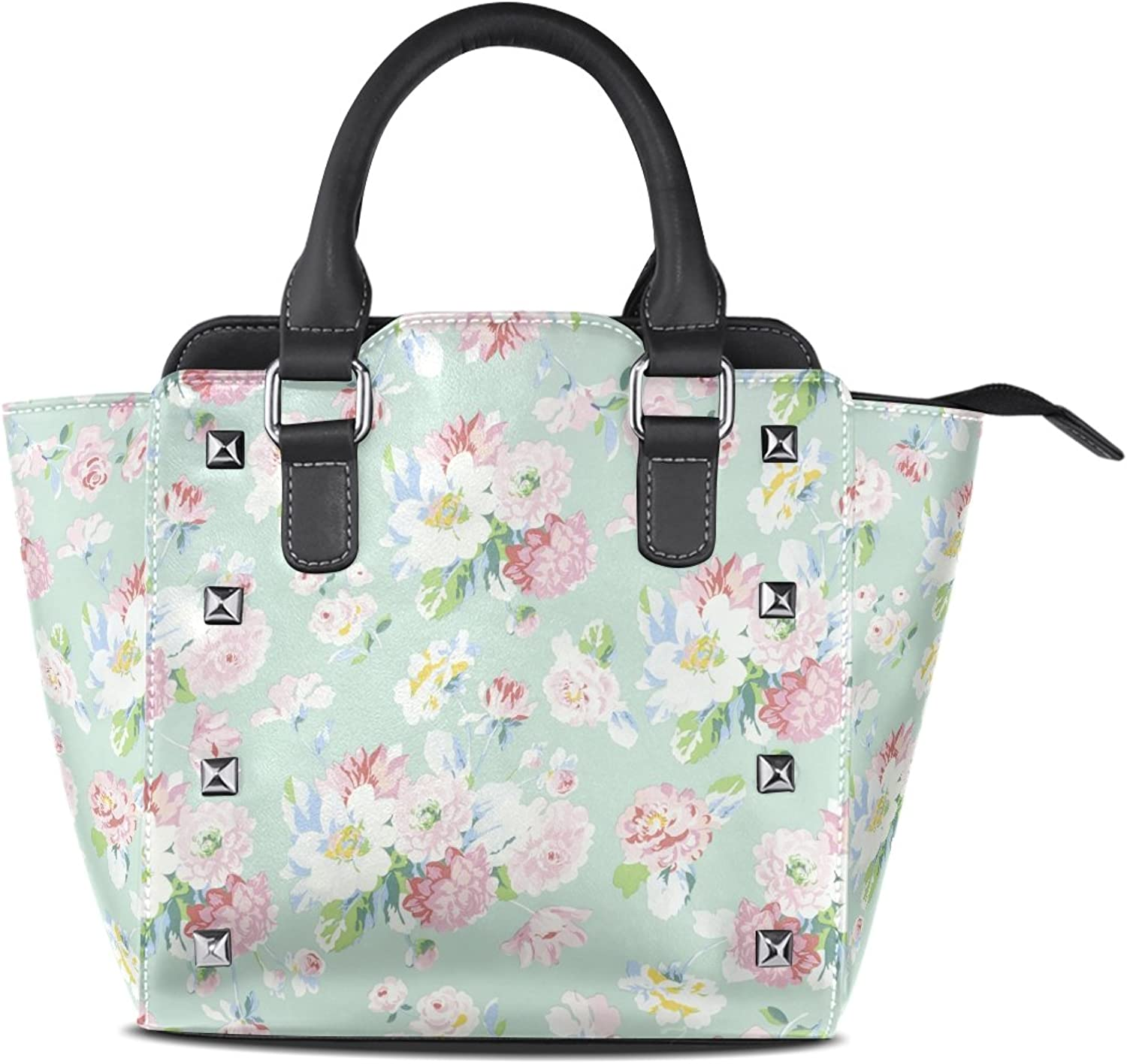 Sunlome Field of Flowers Print Women's Leather Tote Shoulder Bags Handbags