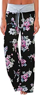 Women's Comfy Casual Pajamas Pant Floral Printed High Waist Wide Legs Lounge Pants Trousers