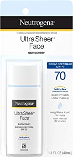 Neutrogena Ultra Sheer Liquid Daily Facial Sunscreen with Broad Spectrum SPF 70, Non-Comedogenic, Oil-free & PABA-Free Weightless Sun Protection, 1.4 fl. oz