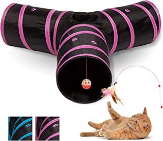 All Prime Cat Tunnel - Also Included is a ($5 Value) Interactive Cat Toy - Toys for Cats - Cat Tunnels for Indoor Cats - Cat Tube - Collapsible 3 Way Pet Tunnel - Great Toy for Cats & Rabb