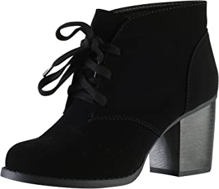 Delicious Women's Ripley Sueded Lace Up Chunky Stacked Heel Ankle Bootie
