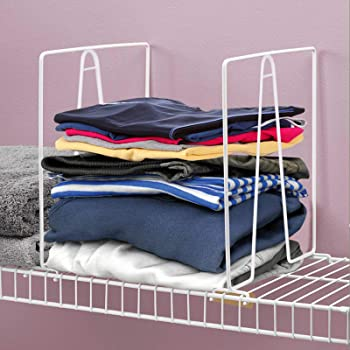 Xabitat Closet Wire Shelf Divider White Set of 4 New and Improved Vertical Organizer with Easy Clamping Powder Coated Steel Wire Wardrobe Separators