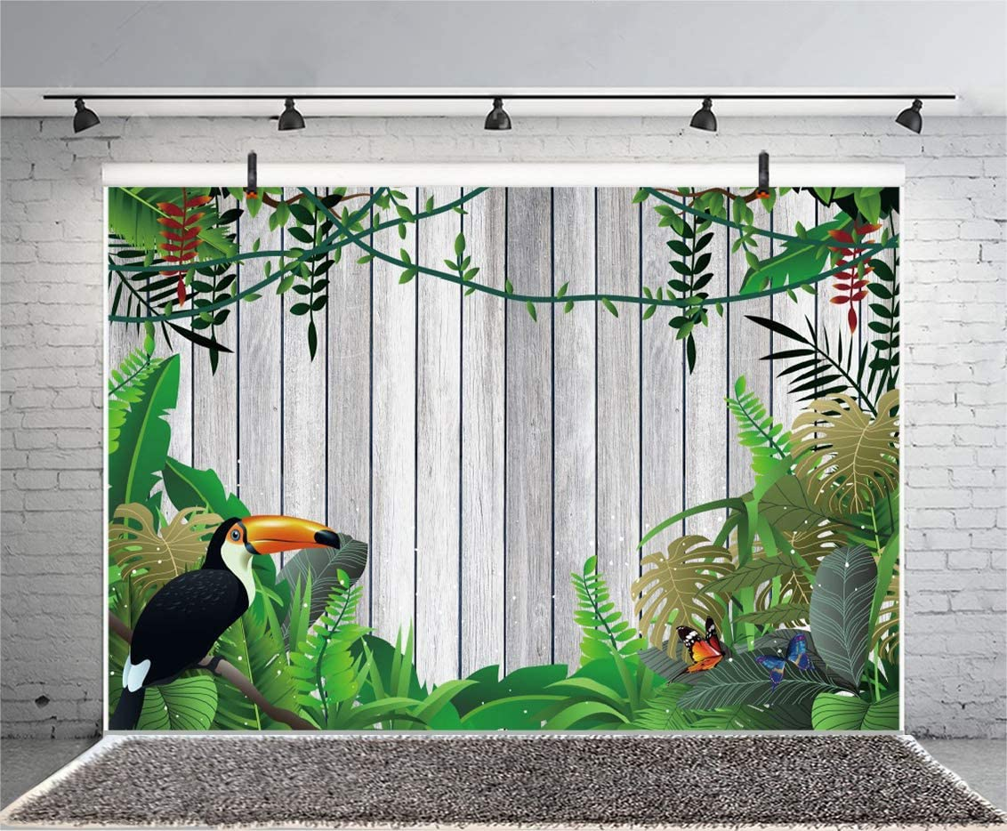Laeacco Summer Tropical Leaves Toucan Backdrop 5x3ft Wooden Photography Background Vintage Wood Board Plank with Jungle Leaves Happy Birthday Decoration Wallpaper Children Party Banner Photo Booth
