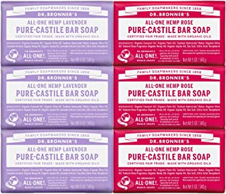 Dr. Bronner's - Pure-Castile Bar Soap, Rose 5 Ounce (3) and Lavender 5 Ounce (3) - Made with Organic Oils, For Face, Body ...