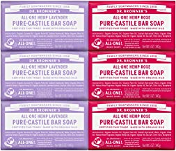 Dr. Bronner's Pure-Castile Bar Soap Bundle, 6 Pack – Lavender, 3-5 Ounce & Rose, 3-5 Ounce