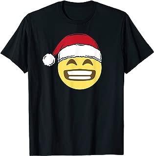 Christmas Grin Smiley Emoji Santa Hat Winter Holiday T-Shirt