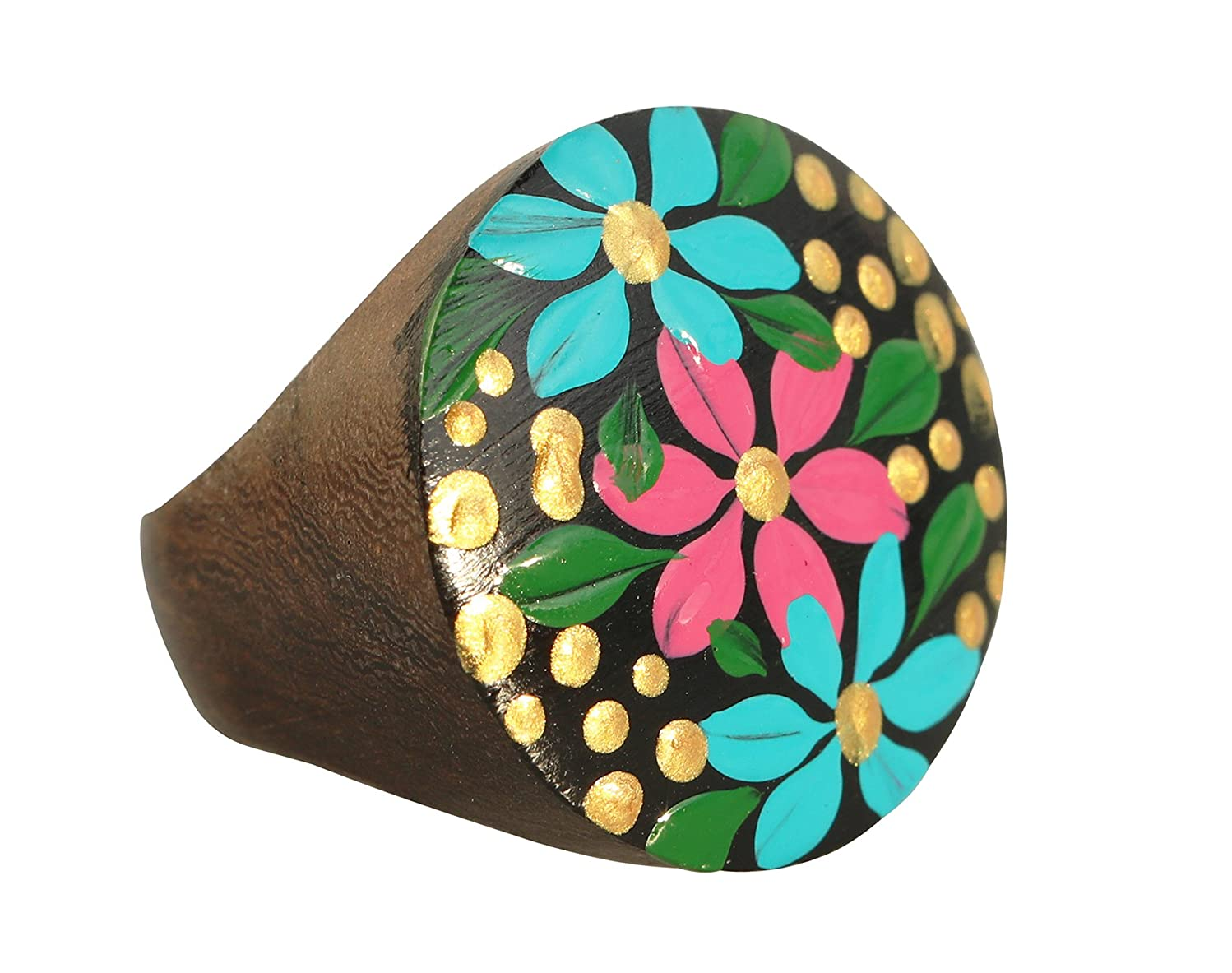 All Natural Hypoallergenic Wood Rings - 20mm Diameter, 10 1/4 (10.25) US size - Blue Pink Green Black