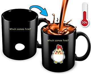 Heat Sensitive Mug Coffee Mug | Funny Coffee Mug | Which Comes First The Chicken Or The Egg | Funny Gift Idea - Funny Chicken Mug - 11 Oz Ceramic Coffee Mug