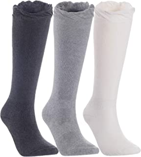 Lian LifeStyle Children Knee-High Combed Cotton Blend Socks Size 0Y-5Y