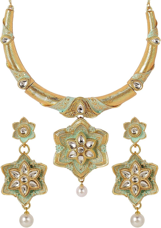 Efulgenz Indian Bollywood Traditional 14 K Gold Plated Kundan Pearl Wedding Choker Necklace Earrings Jewelry Set