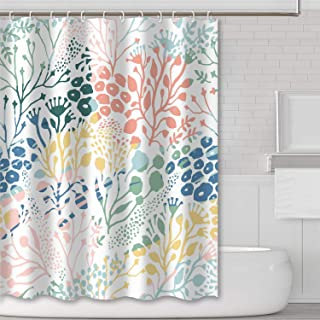 Tititex Colored Coral Summer Shower Curtains Green Branches Tropical Plants Pink Raindrops Bathroom Decoration Waterproof Fabric 69 X 70 Inch with Hooks Yellow Blue