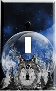 Gotham Decor Switch Plate Single Toggle Wolf Snow Moon Light Switch Cover