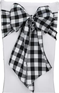 LA Linen Checkered Chair Bows Sashes, 8 by 108-Inch, Black/White, 10-Pack