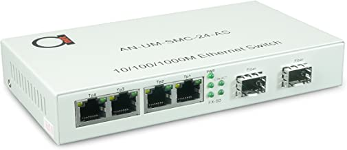 2 x Open SFP Slot + 4 x UTP Cat5e/Cat6 10/100/1000 Copper Ports - Gigabit Ethernet - Fiber Media Converter - Mini Switch -...