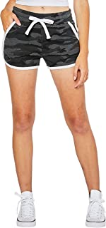esstive Women's Midweight Basic French Terry Camouflage White Piping Casual Comfortable Short
