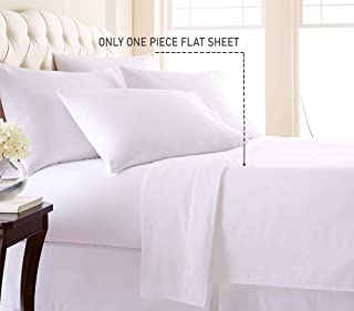 Trend Bedding Mart 1PC Solid Flat Sheet Smooth Touch Hotel Quality 100% Egyptian Cotton Perfectly Fit for Oversize and Extra Height King Bed 108 Inch x 112 Inch White Solid 600 Thread Count