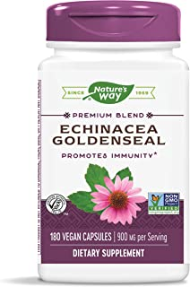 Nature's Way Echinacea-Goldenseal, 900 mg per Serving, 7 Herb Blend, Non-GMO Project Verified, 180 Vegetarian Capsules (2 ...