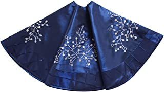 Gireshome Blue Faux Silk Deluxe Berry Embroidered Center, Handcraft Pintuck Border, Christmas Tree Skirt,Xmas Christmas Holiday Party Decorations-36inch