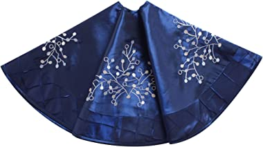 Gireshome Blue Faux Silk Deluxe Berry Embroidered Center, Handcraft Pintuck Border, Christmas Tree Skirt,Xmas Christmas Holid
