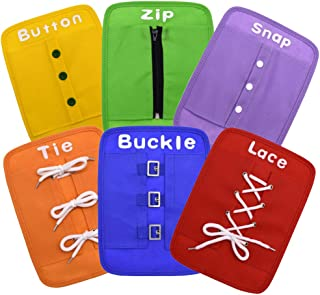 YIISUN Busy Board Early Learning Basic Life Skills Learn to Dress Boards-Button,Zip,Lace,Buckle,Tie,Snap 6 Pcs/Set