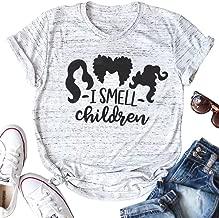 I Smell Children Shirt Sanderson Sisters Funny Halloween Shirt Women Halloween Graphic Print Short Sleeve T Shirt Top
