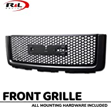 R&L Racing Black Finished Front Grill Round Hole Mesh Hood Bumper Grille 2007-2013 for GMC Sierra 1500
