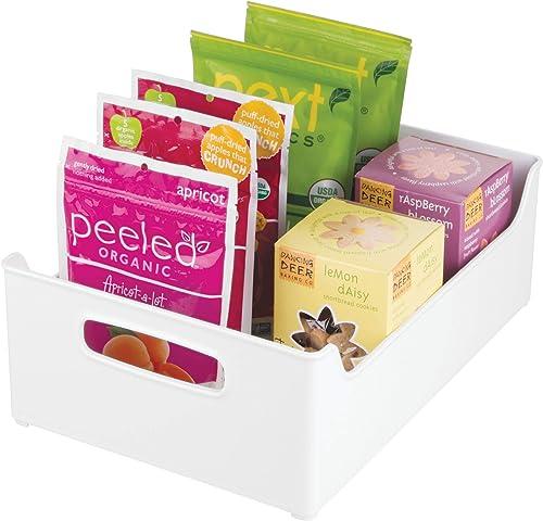 InterDesign 73331 Refrigerator and Freezer Storage Organizer Bins for Kitchen, White, 10 x 5 x 14.5