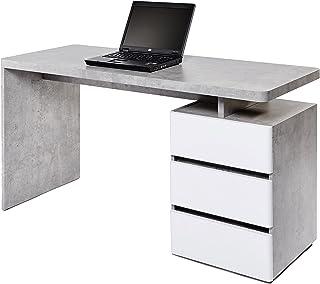 Movian Skadar - Bureau à 3 tiroirs, 140x55x76cm, Blanc mat/finition béton