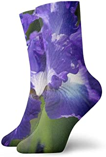 Purple Flower Wallpaper Hombres Calcetines cortos para mujer Calcetines clásicos de algodón de 30 cm para yoga Senderismo Ciclismo Correr Fútbol Deportes
