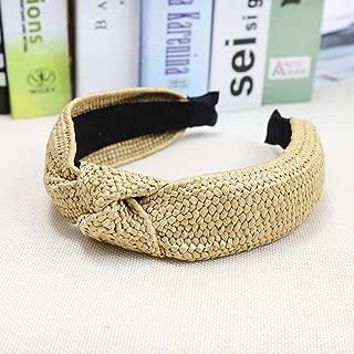 DAWEIF Straw Headbands Natural Handmade Twist Knot Wide Headwear Vacation Style Hairbands Hair Hoop for Women Girls