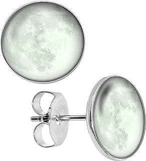 Glow in the Dark Super Full Moon Planet Unisex Mens Womens Stainless Steel Stud Earrings