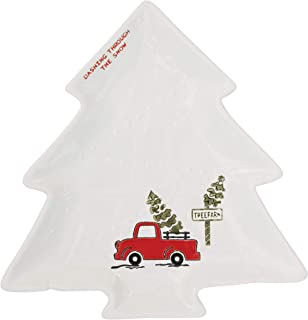 Creative Co-Op Cream Stoneware Tree Shaped Plate with Truck Image