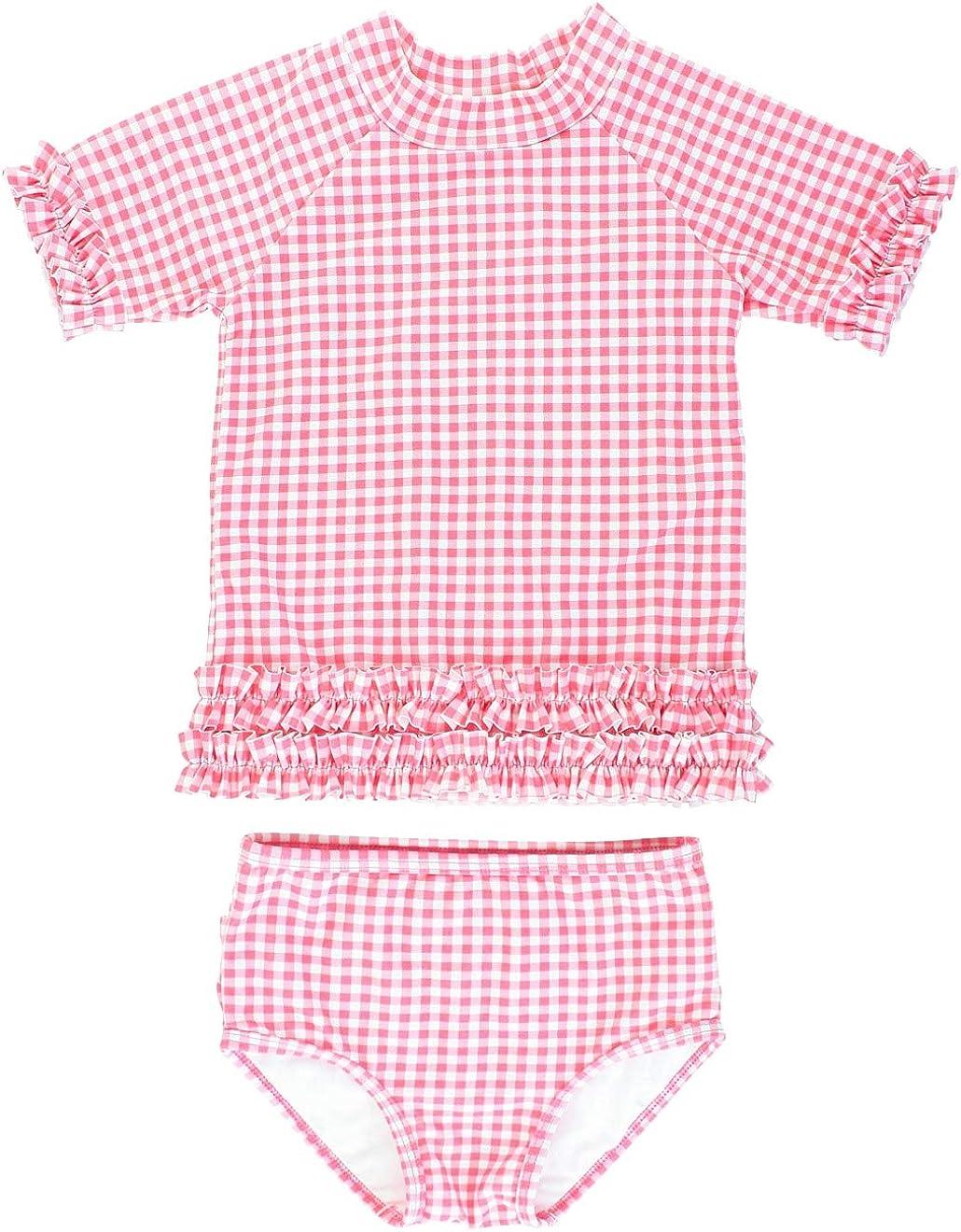 Polka Dot Bikini with UPF 50 Sun Protection RuffleButts Girls Rash Guard Short Sleeve 2-Piece Swimsuit Set