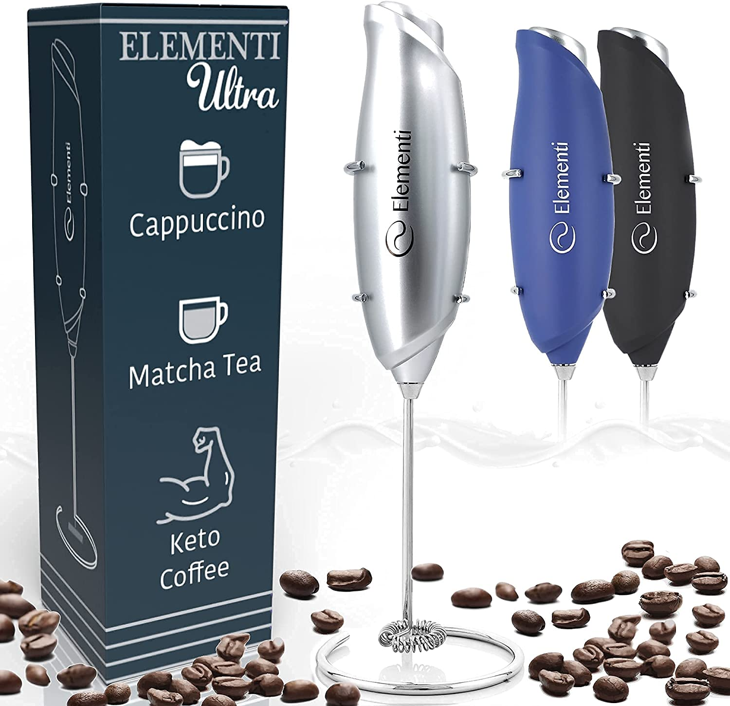 Elementi Milk Frother Handheld Electric Matcha Whisk (Ultra Silver), Handheld Milk Frother Electric Stirrer, Coffee Frother Mini Blender Hand Frother Drink Mixer Frappe Maker Latte Milk Foamer