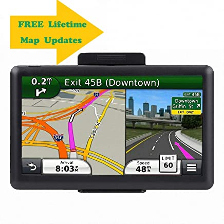 7.1 Inch GPS Navigator, 2019 Updated Lifetime Navigation Stereo System Touch Screen with Large 8GB Memory Multi Language Maps Spoken for Car Vehicle Truck Taxi