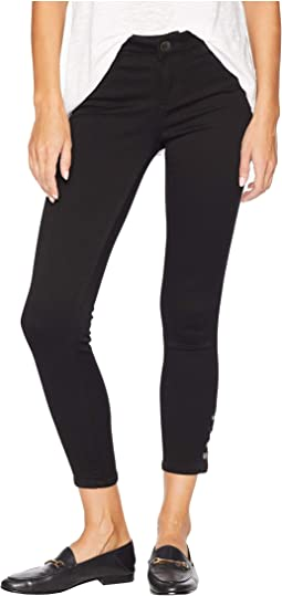 Connie Ankle Skinny Jeans w/ Snap Side Legs in Black
