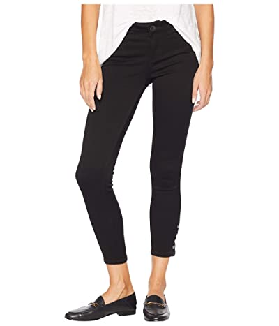 KUT from the Kloth Connie Ankle Skinny Jeans w/ Snap Side Legs in Black (Black) Women